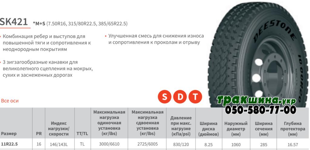 Характеристики шины Deestone SK421 11r22.5