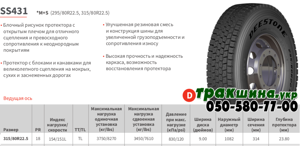 Характеристики грузовой шины Deestone SS431 315/80r22.5