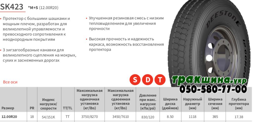 Характеристики грузовой шины Deestone SK423 12R20