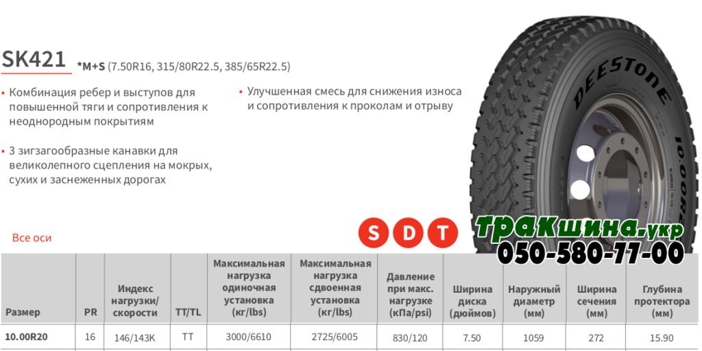 Характеристики грузовой шины Deestone SK421 10r20