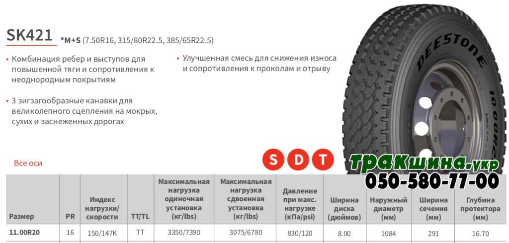 Характеристики шины Deestone SK421 11r20