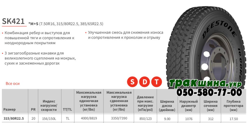 Характеристики грузовой шины Deestone SK421 315/80r22.5