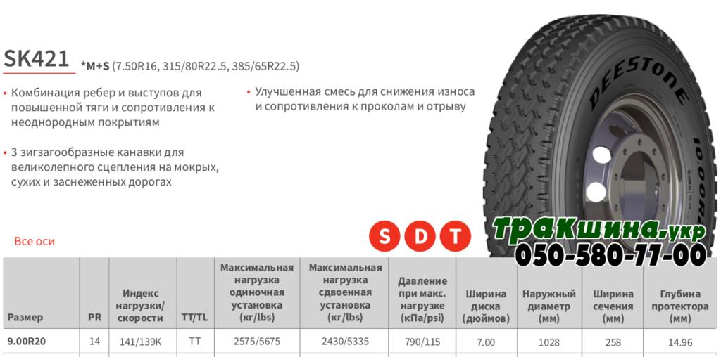 Характеристики шины Deestone SK421 9r20