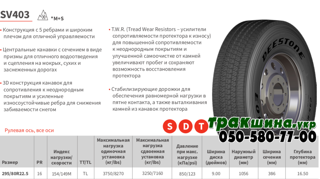 Характеристики грузовой шины Deestone SV403 295/80r22.5