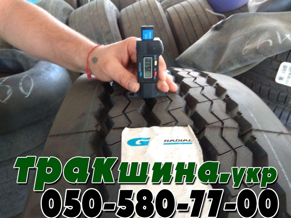 На фото показана глубина протектора шины 385/65R22.5 GTRadial GT978