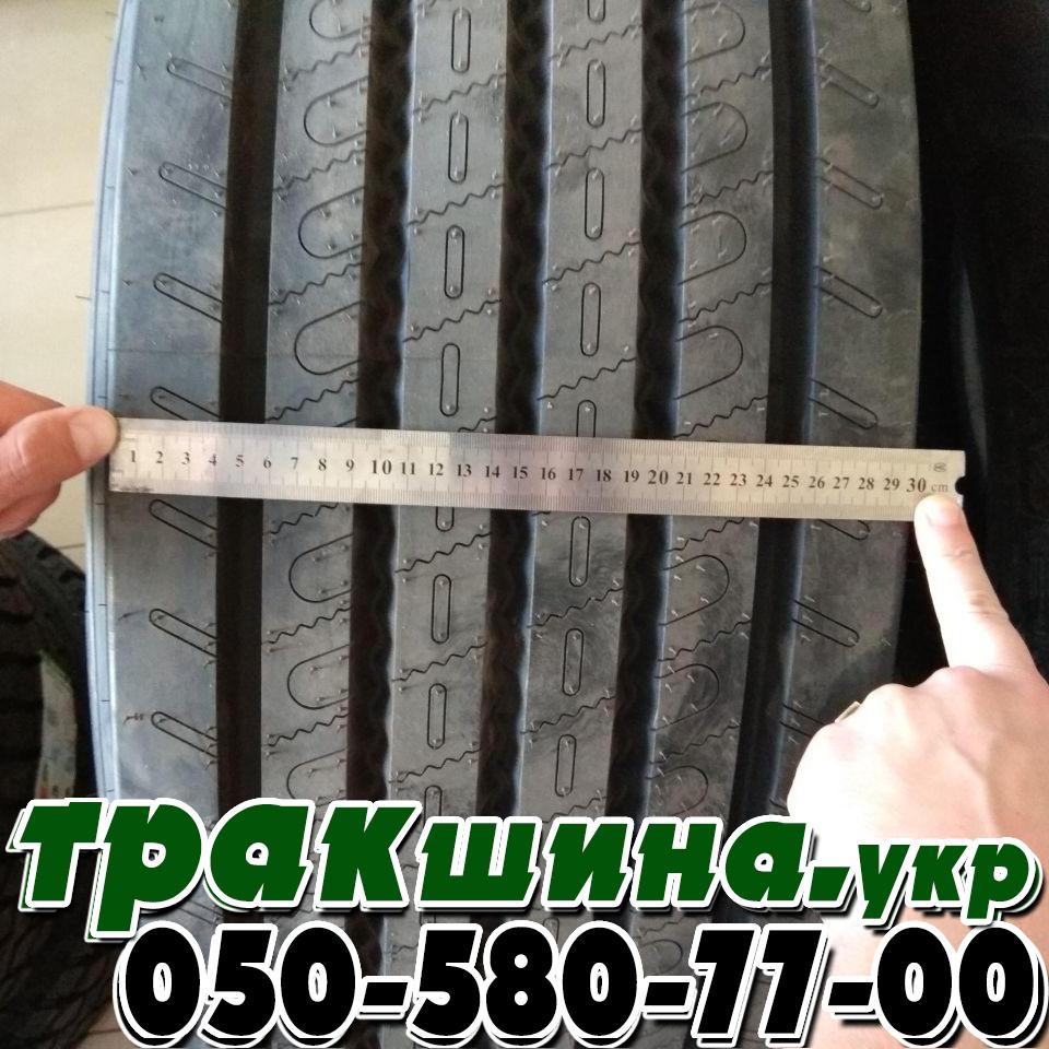 На фото показана ширина протектора шины matador f hr4 385/65R22.5 рулевая ось