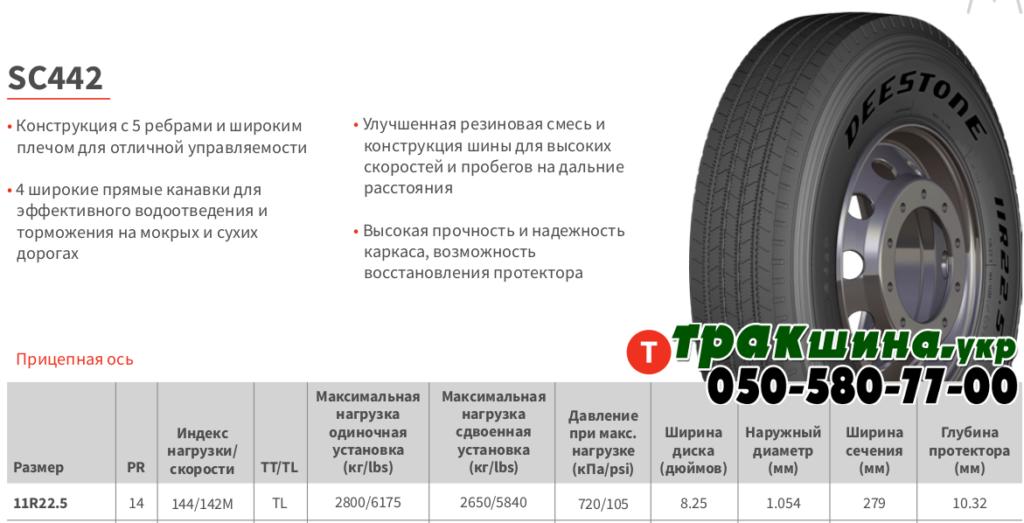Характеристики грузовой шины Deestone SC442 11r22.5