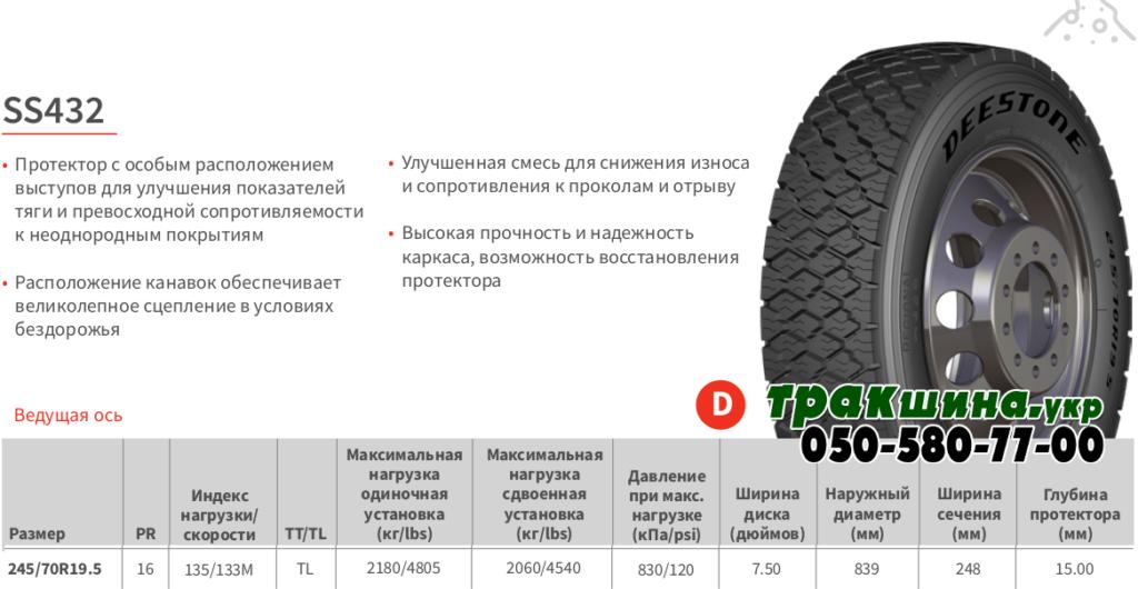Характеристики шины Deestone SS432 245/70r19.5