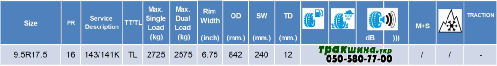 Характеристики шины Deestone SV402 9.5r17.5